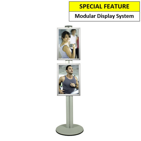 Pole 1450 mm high. 2 Double Sided A3 Snap Frames