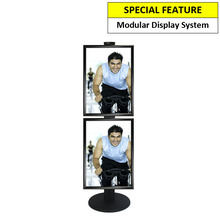 2 x A2 Poster Holder on Black Combo Pole 1450mm High - Single Sided