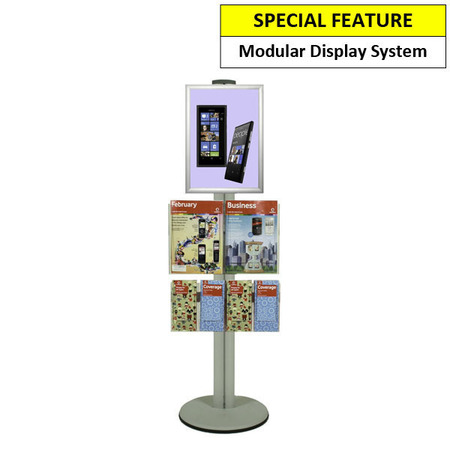 A3 Poster Holder with 2 A4 and 4 DL Brochure Holders on Siver Combo Pole 1450mm High - Single Sided