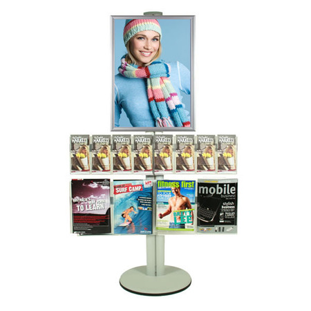 A2 Poster Holder with 4 A4 and 8 DL Brochure Holders on Siver Combo Pole 1450mm High - Single Sided