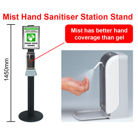 Mist Hand Sanitiser Station Stand with Automatic Dispenser - Black 1450mm Stand with A4 Snap Frame