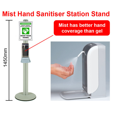 Mist Hand Sanitiser Station Stand with Automatic Dispenser - Silver 1450mm Stand with A4 Snap Frame