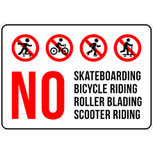 PRINTED ALUMINUM A3 SIGN - No Skateboarding, Bicycle, Roller Blading and Scooter Riding Sign