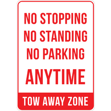 PRINTED ALUMINUM A2 SIGN - Tow Away Zone Sign
