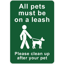 PRINTED ALUMINUM A3 SIGN - All Pets Must Be On A Leash Sign