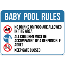 Baby Pool Rules Sign