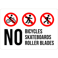 PRINTED ALUMINUM A3 SIGN - No Rollerblades Sign