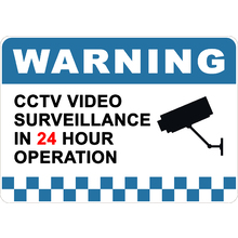 PRINTED ALUMINUM A3 SIGN - Warning CCTV Video Surveillance in 24 Hour Operation Sign