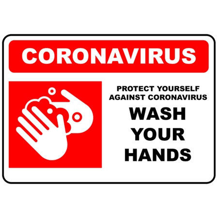 PRINTED ALUMINIUM A2 SIGN - Coronavirus Wash Hands Red
