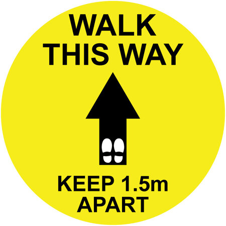 Pack of 14 - Hard Floor Yellow Commercial Grade Marking Sign 250mm - Walk This Way