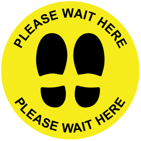 Pack of 14 - Hard Floor Yellow Commercial Grade Marking Sign 250mm - Please Wait Here