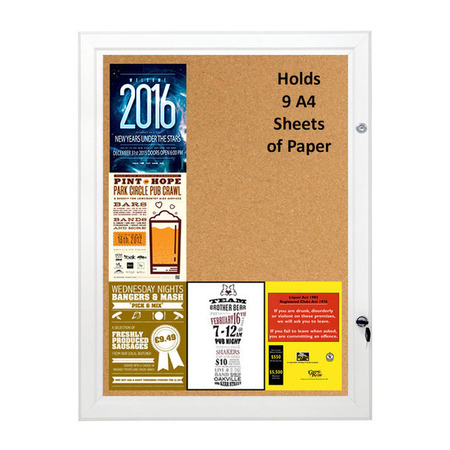 Cork Board Lockable & Water Resistant Holds 9 x A4