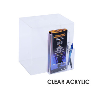 Premium Acrylic Clear Suggestion Box with DL Brochure Holder and Pen Holder