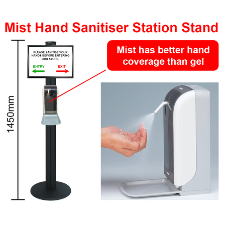 Mist Hand Sanitiser Station Stand with Automatic Dispenser - Black 1450mm Stand with A3 Landscape Snap Frame