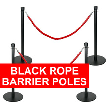 Black Rope Barrier Poles