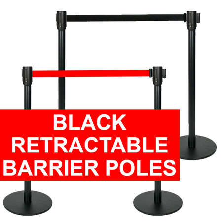 Black Retractable Barrier Pole